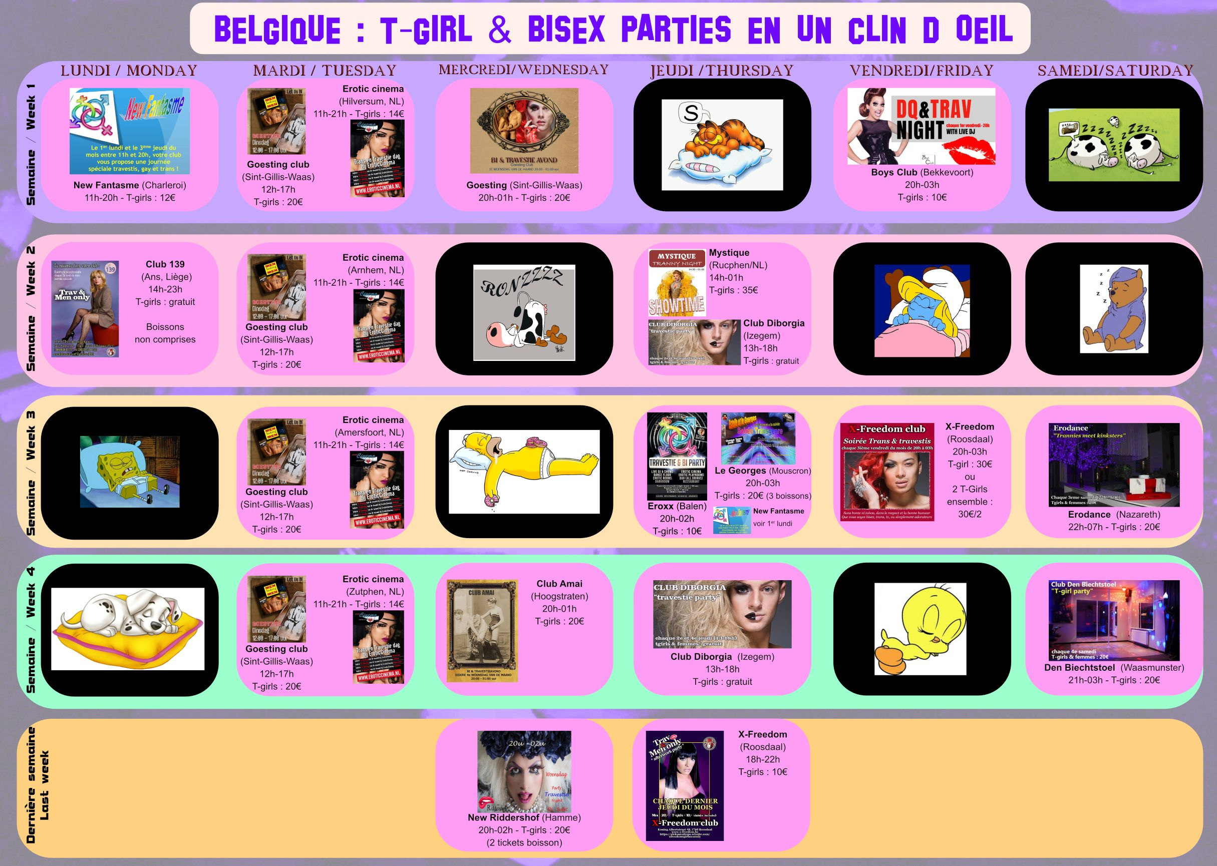 Calendrier tgirl parties